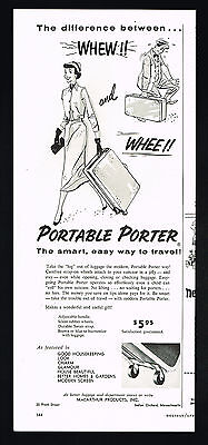 1956 Luggage Portable Porter Strap On Wheels Vintage Print Ad