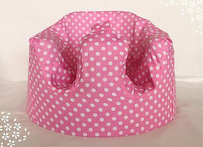 *NEW DESIGN'  Bumbo 100% Cotton Seat Cover with Harness Slots 'Pink Polkadot'