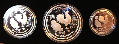 2017 Year of Rooster - Perth Mint -  3 Coin Silver Proof Set - Sold out at Mint