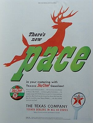 1949 ORIG.PRINT AD TEXACO MOTOR OIL there's new pace, red deer in background