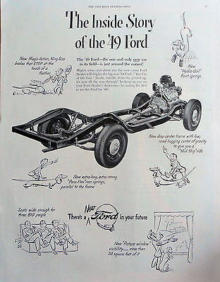1948 ORIG. PRINT AD INSIDE STORY OF THE '49 FORD, dachshund cartoons