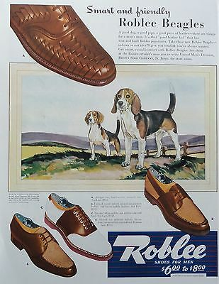 """1942  PRINT AD ROBLEE SHOES FOR MEN ROBLEE """"BEAGLES', beagle dogs in field"""