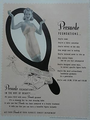 1941 ORIG. PRINT AD PERSUEDE FOUNDATIONS in the box of beauty, lady in corset