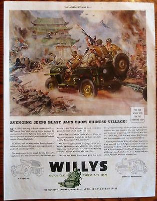 Jeeps Blast Japanese From Chinese Village WWII Ad