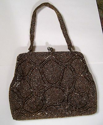 Vintage Richere Bag By Walborg Bronze Gold Hand Made Beaded Purse EXCELLENT