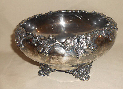 Antique Silverplated Bowl by Southington Grapevine Design Footed