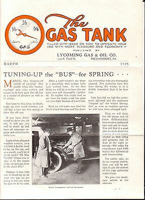 March 1926 Advertising Brochure The Gas Tank Lycoming Gas and Oil Co PA