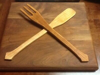 Solid Cherry Fork And Spoon Salad Set