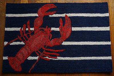 RED LOBSTER Hand Tufted Rug Throw Carpet Nautical Blue Home Decor Doormat NEW