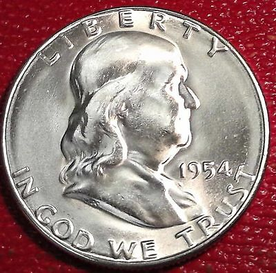 ***silver 50 Cents***1954 S Franklin Half Dollar Brilliant Uncirculated Bu