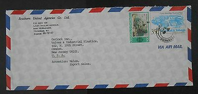 Uncommon Trinidad & Tobago 1980s Commercial Airmail cover, 35c Water Plant-SC375
