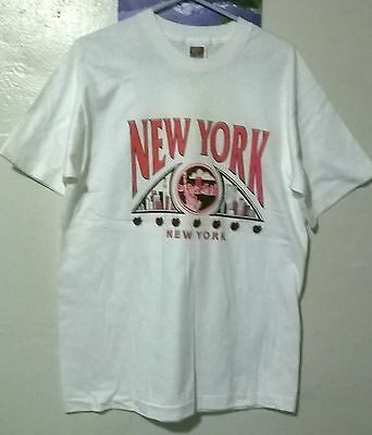Vintage New York Twin Towers T-Shirt White Large  Free U.s. Shipping