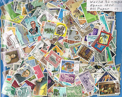 Bulk Lot World Stamps - Used - About 1000 - Off Paper - Good variety  Lot No 19
