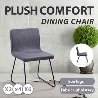 2/4/6 Fabric Dining Cafe Chair Seat Bistro Iron Dining Room Kitchen Dark Grey