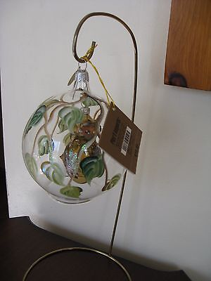 Beautiful glass Christmas ornament,new,unique,Owl in a ball.Pier 1 Imports,Italy