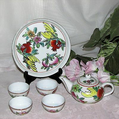 Miniature Asian Tea Set Hand Painted Porcelain Floral Small Teapot 4 Cups Tray
