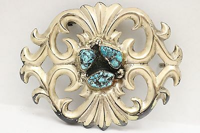 Native American Large Belt Buckle Turquoise Stones Marked MB