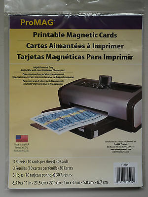 Promag Inkjet Printable Magnetic Cards Glossy 30 Pk Cards Promote Photo Custom -
