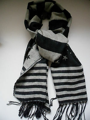 American Flag Fringe Scarf Black Grey Americana Star Wrap Large Snow Day Multi -