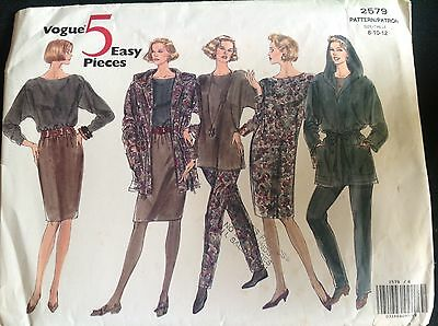 Pattern Vogue 2579, misses' jacket, dress, top, skirt, pants, Sz 8-12