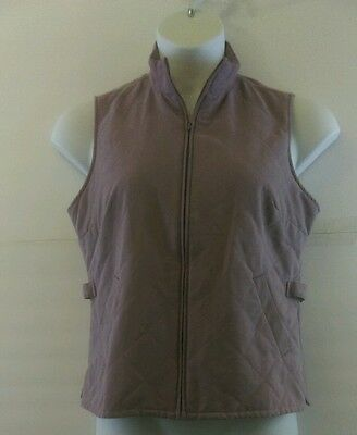 Orvis Women's Quilted Field Vest Lavender Side Buckle Zip Front Size Small