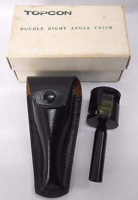 Rare TOPCON Double Right Angle Prism 56220 Leather Case Box Surveying Instrument