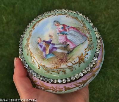 Antique Sevres Porcelain w/ Rhinestones CHATEAU des TUILERIES Hand Painted Box