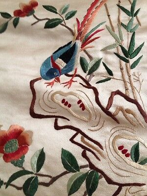 Vintage Chinese Silk Embroidery Doily Wall Decor Gold Bird