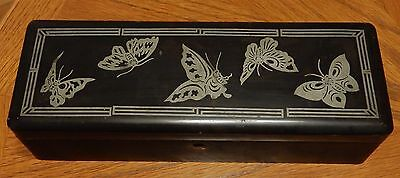 Vintage Antique Japanese Lacquer Ware Metal Butterfly Inlay W/Japan Stamp Box
