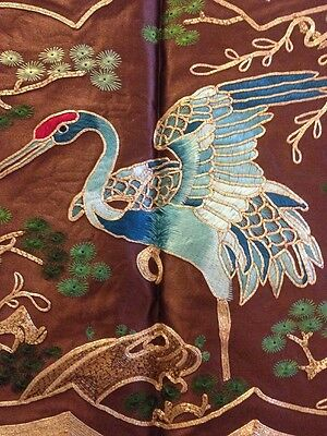 Vintage Chinese Silk Embroidery Doily Wall Decor Gold Crane