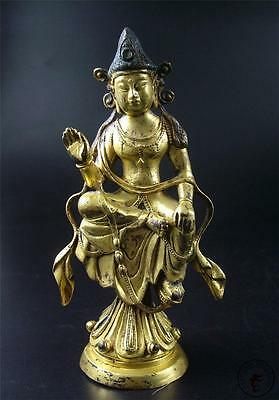 Large Antique Old Chinese Tibet Gilt Copper Tibetan Kwan Yin Maitreya Statue