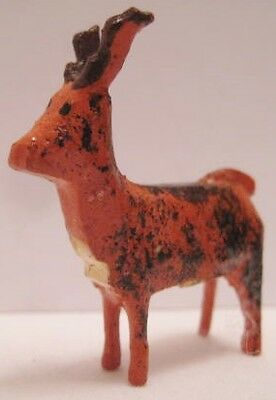 """Tiny Antique Carved Wood Putz Christmas Toy Reindeer Figure 1 1/4"""" Germany 1920s"""