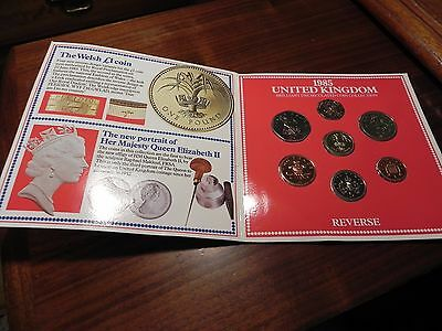 1985 United Kingdom Mint Set Brilliant Uncirculated UK Coins 7 Coins Total