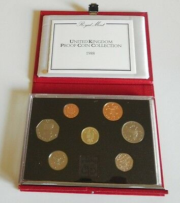 1988 United Kingdom DELUXE LEATHER Proof Set, 7 GEM UK Coins, WITH Case and COA
