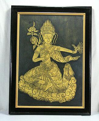 Vintage Framed Hollywood Regency Style Siamese Thailand Temple Rubbing