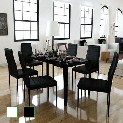 Modern Dining Set 1 Glass Table 6 Black/White Chairs Faux Leather Dining Room