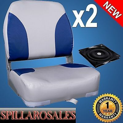 2 x Deluxe Blue & Grey Boat Folding Boat Seats w/ Swivels