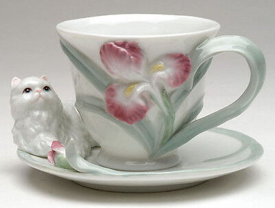 ❈ COSMOS Persian Cat with Iris Flower Porcelain Coffee Tea Cup and Saucer Set
