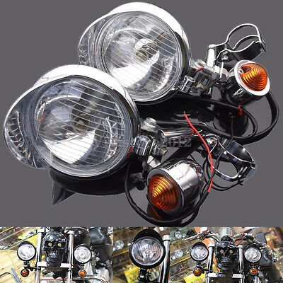 Motorcycle 12V Chrome Turn Signal Driving Spot Passing Fog Lights Bar For Harley