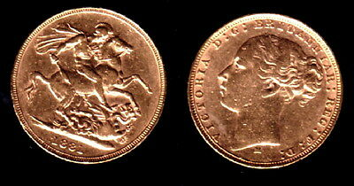 1881 Melborune Mint Gold Early Head Victoria Sovereign--Attractive - Detailed