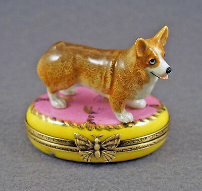 NEW HAND PAINTED FRENCH LIMOGES TRINKET BOX CUTE CORGI DOG PUPPY on PINK RUG