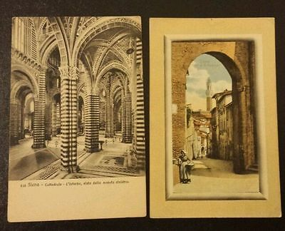 Lot of 2 Early 1900s Antique Italian Postcards Siena Italy -Lot 18