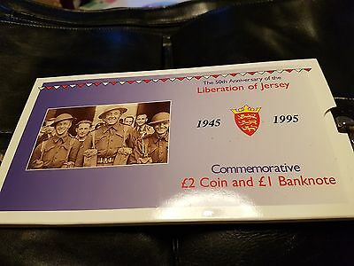 1995 50th Anniversary Liberation of Jersey £2 Coin & £1 Banknote Free Post UK