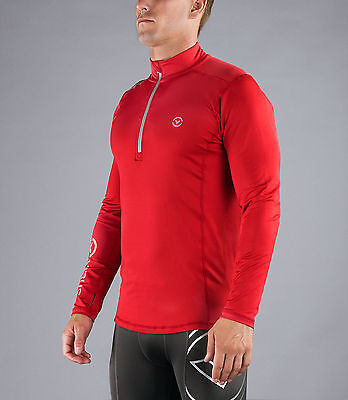 Men's thermal Stay Warm Long Sleeve Functional Fit Half Zip (SiO4) in Red