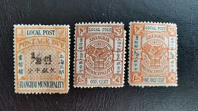 China Shanghai Local post stamps, F/VF, 3 pcs