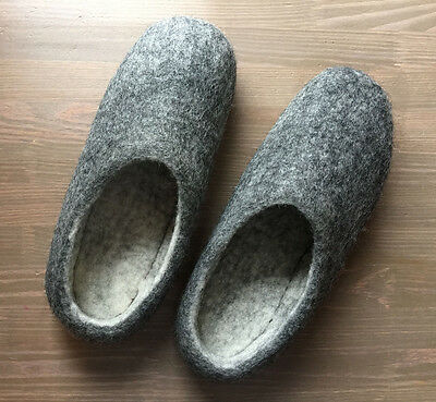 Handmade Felted Wool Men's Shoes, Size 10 Comfort winter slippers, Clogs