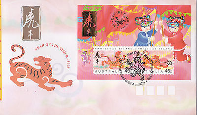 Christmas Island 1998 Year of the Tiger MS FDC