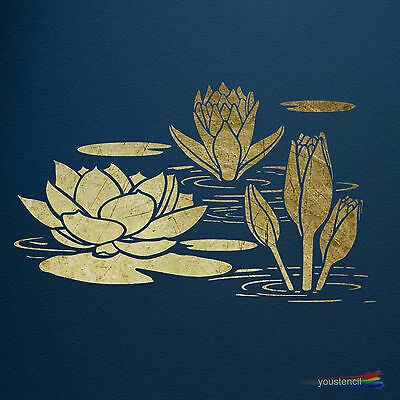 Water Lily Stencil Template: Large:   Scrapbooking, Airbrushing, Art:    ST47A4