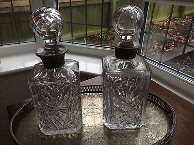 Cut Glass Decanter Set With Sterling Silver Collars - Antique