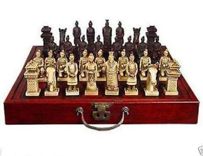 Chinese Qin Dynasty Army Style 32 Bull-Bone Pieces Chess Set & Wooden Box